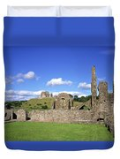 Old Ruins Of An Abbey With A Castle In Duvet Cover
