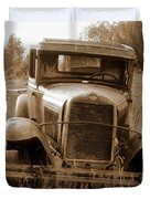 Old Rustic Ford-sepia Duvet Cover