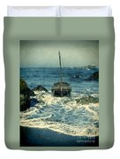 Old Sailing Vessel Near The Rocky Shore Duvet Cover