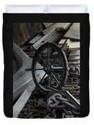 Old Ships Wheel, Chains And Wood Planks Duvet Cover