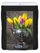 Old Tea Pot And Tulips Duvet Cover