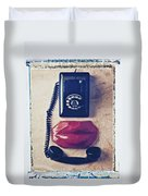 Old Telephone And Red Lips Duvet Cover