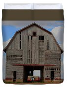 Old Wagon Older Barn Panoramic Stitch Duvet Cover