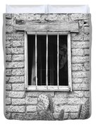 Old Western Jailhouse Window In Black And White Duvet Cover