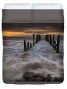 Old Wharf At Sunrise Saint Clair Beach Duvet Cover