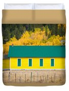 Old Yellow School House With Autumn Colors Duvet Cover