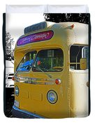 Old Yellow Transit Bus Abstract Duvet Cover