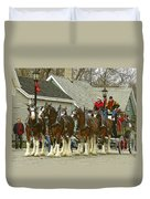 Olde Tyme Travel Clydesdales Duvet Cover