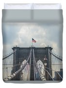Ole Glory Over Brooklyn Bridge Duvet Cover