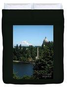 Olympia Wa Capitol And Mt Rainier Duvet Cover