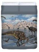 Omeisaurus And Parasaurolphus Dinosaurs Duvet Cover