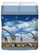 Omeisaurus Dinosaurs Are Startled Duvet Cover
