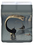 Omeisaurus Sauropod Dinosaurs Cooling Duvet Cover