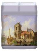 On The Rhine Duvet Cover by Cornelius Springer