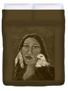 Onawa Native American Woman Of Wisdom With Eagle In Sepia Duvet Cover by The Art With A Heart By Charlotte Phillips