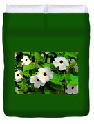 One Eye White Flower Duvet Cover