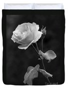 One Rose In Black And White Duvet Cover