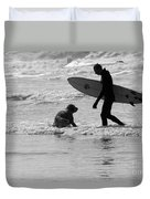 One Surfer And His Dog Duvet Cover