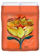 One Yellow Flower And Pinky Peach Behind Duvet Cover
