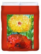 One Yellow One Red And Orange Flower Shines Duvet Cover