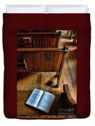 Open Book On Church Pew Duvet Cover