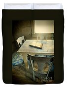 Open Book On Old Table Duvet Cover