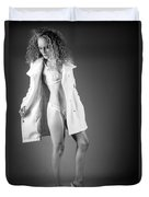 Open Coat In Bw Duvet Cover