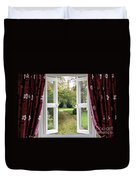 Open Window To A Church Garden Duvet Cover