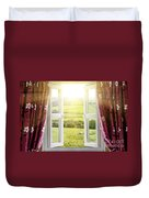 Open Window With Countryside View Duvet Cover