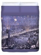 Opening Of The Great New York And Brooklyn Bridge And Grand Display Of Fire Works Duvet Cover