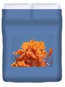 Orange Autumn Leaves Art Prints Blue Sky Duvet Cover