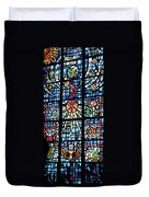 Orange Blue Stained Glass Window Duvet Cover by Thomas Woolworth