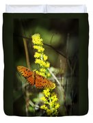 Orange Butterfly On Yellow Wildflower Duvet Cover