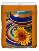 Orange Daisy With Plate And Vase Duvet Cover
