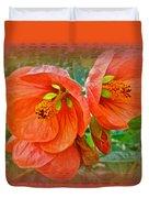 Orange Hibiscus Flowers Duvet Cover