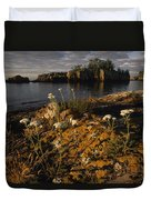 Orange Lichen-covered Rocks At Isle Duvet Cover