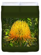 Orange Protea Flower Art Duvet Cover by Rebecca Margraf
