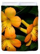 Orange Rhododendron Flowers Duvet Cover