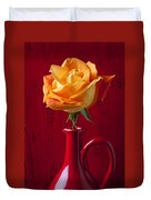 Orange Rose In Red Pitcher Duvet Cover