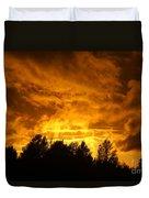 Orange Stormy Skies Duvet Cover