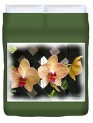 Orange Striped Orchids Duvet Cover