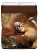 Orangutan Pongo Pygmaeus.  Juvenile Duvet Cover