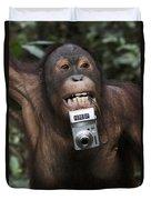 Orangutan With Tourists Camera Duvet Cover