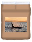 Orca At Sunset Duvet Cover