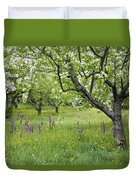 Orchard With Flowering Orchids Duvet Cover