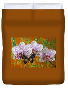 Orchids With Speckled Butterfly Duvet Cover