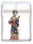 Oriental Lady And Child Duvet Cover
