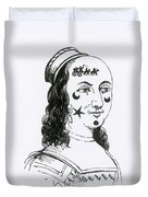 Ornamental Patches On Face, 17th Century Duvet Cover