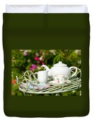 Outdoor Tea Party Duvet Cover by Amanda Elwell
