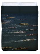 Outrigger Canoes Race From Molokai Duvet Cover